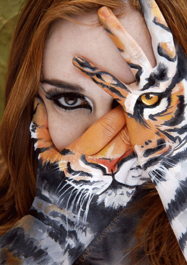 Female face Painting tiger ideas