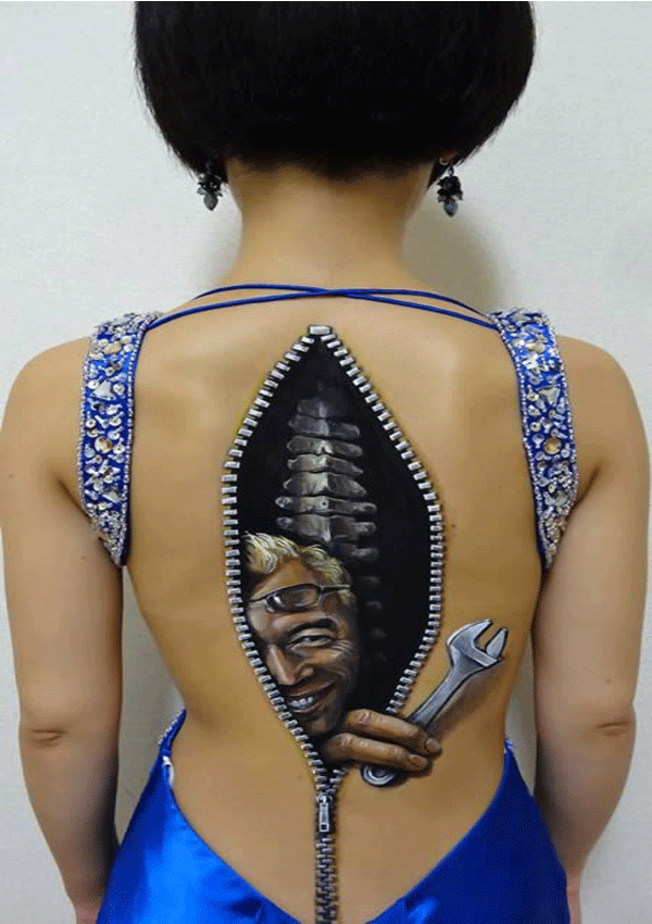 Female body  back Painting