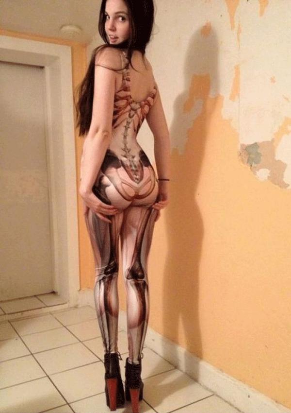 skeleton types of body paint on women body
