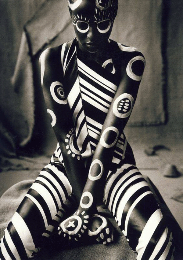 Female Body Painting on black woman design