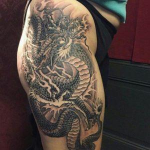 dragon thigh tattoo  design