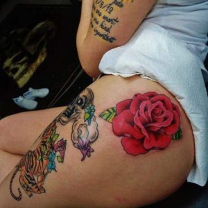 rose red tattoo ideas inspiration on women tight