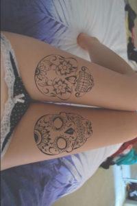 leg skull Tattoo Designs ideas girls
