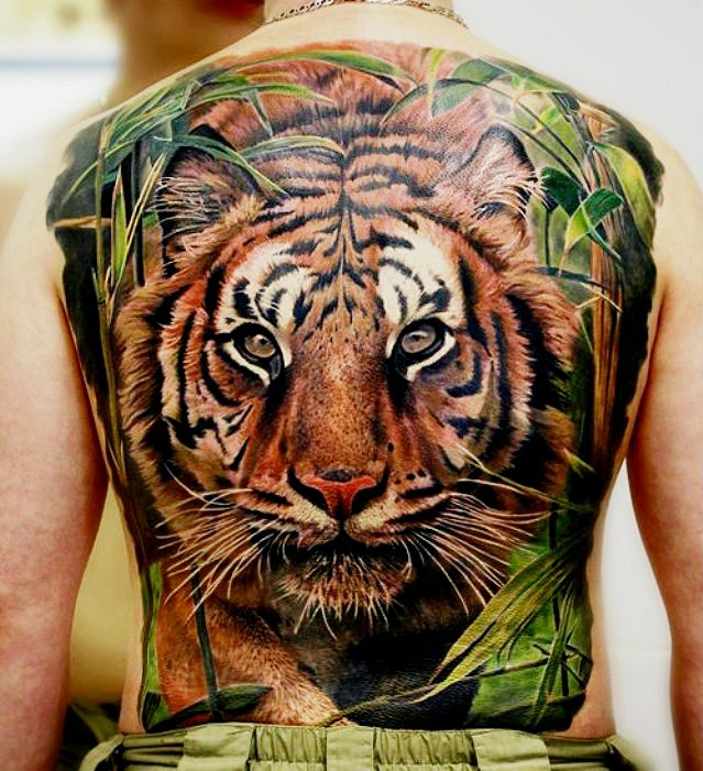 Temporary Large black ink tiger tattoo For Men Guys Boys