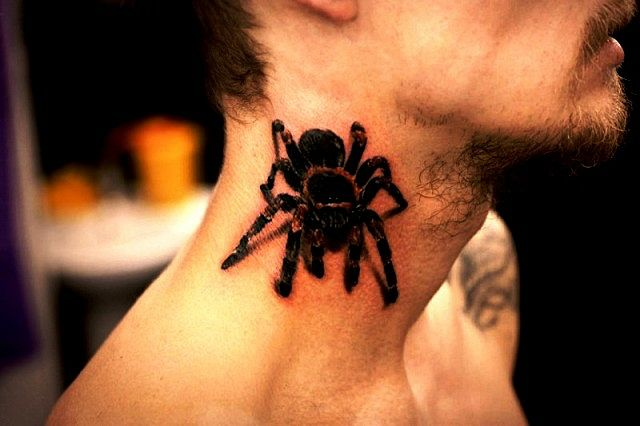spider tattoo on neck for men and guys ideas