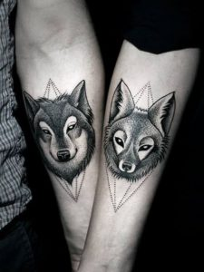 Temporary wolf and fox tattoo For Men Guys Boys on hand
