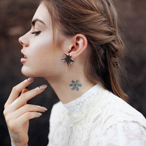 side  Neck Tattoo  for girls Ideas