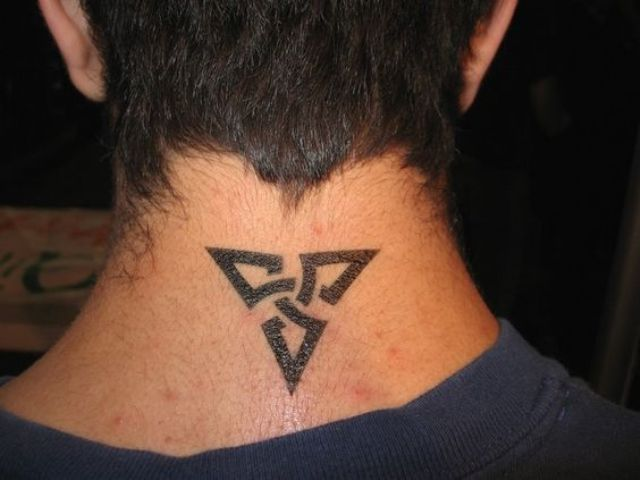 Small back symbols Neck Tattoo Designs For Guys