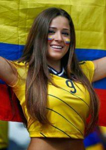 girls Beautiful smiling happy football fan