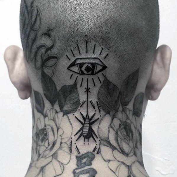 eye Tattoo on neck Designs For Men