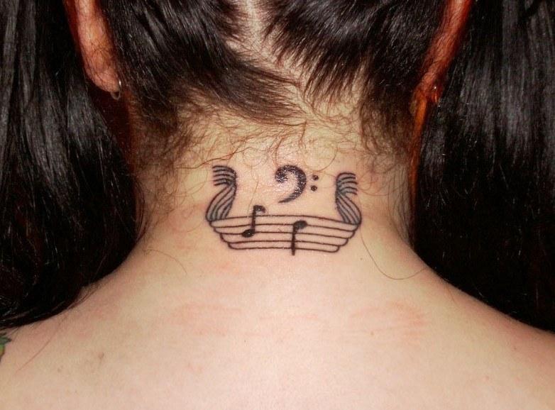 small note neck tattoo designs female ideas