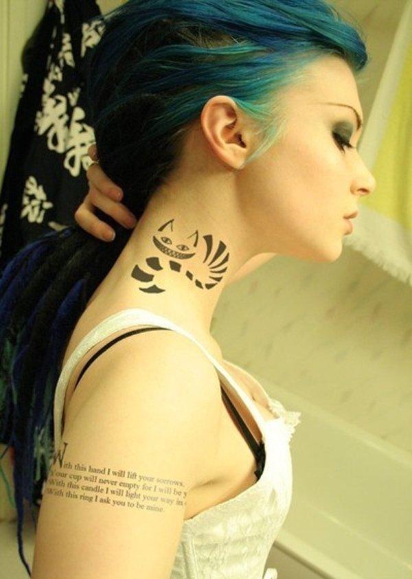 egyptian cat side Neck Tattoo Designs women