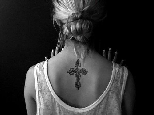 cross Neck back Tattoo ideas for  women