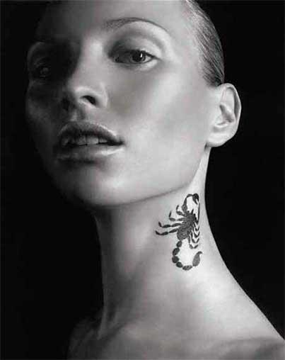 scorpion Neck Tattoo Designs ideas For Creative women