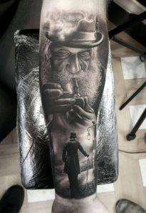 leg tattoo on man