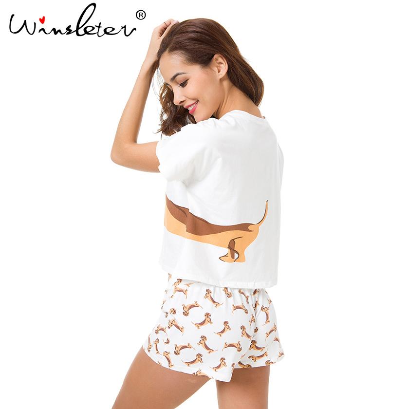 Cute Women Pajamas Nightwear Dachshund Print Dog 2 Pieces