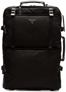 Prada black nylon trolley suitcase