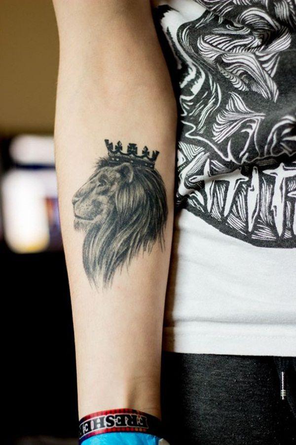 lion tattoo on forearm