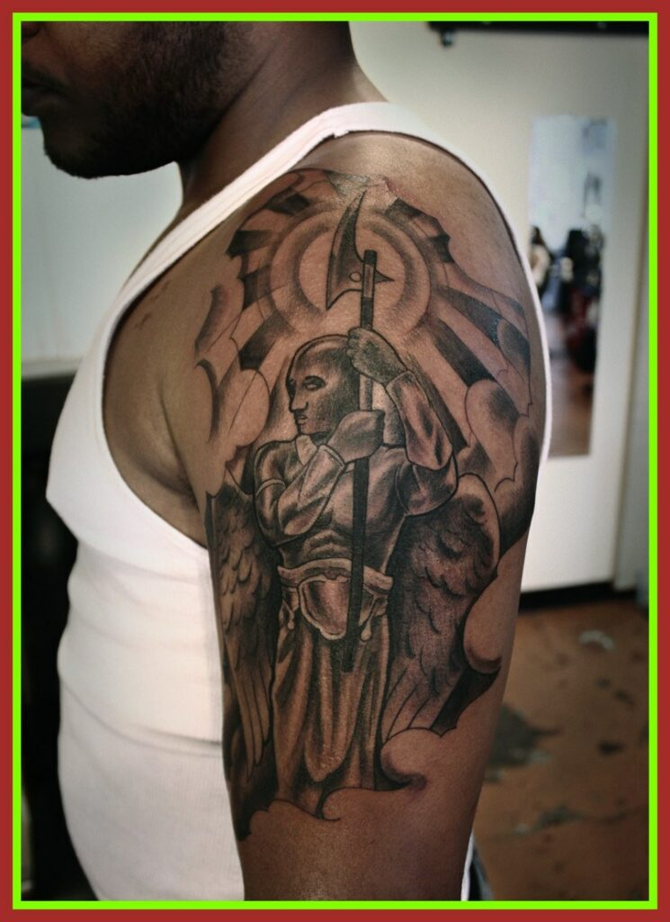 Males Arms Serpent And  Angel Tattoo