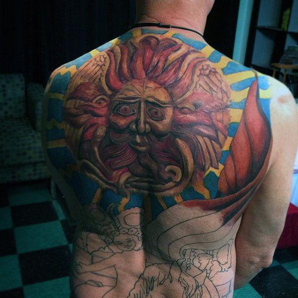 Tribal Sun Tattoo Designs For Men