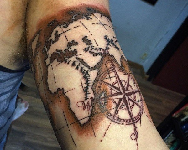 World Map Tattoo Designs For Men and guys