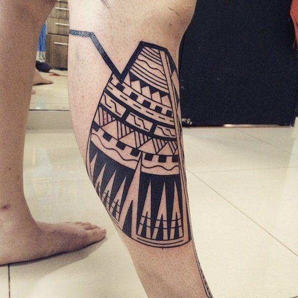 Polynesian Style Calf Tattoo Design