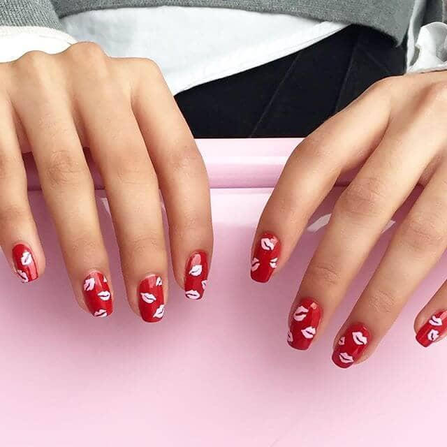 red pointed acrylic nail designs