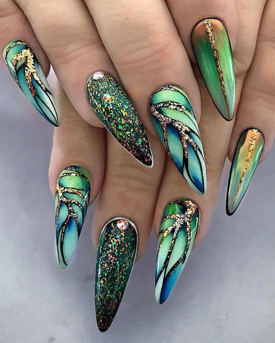 green gel nail simple designs