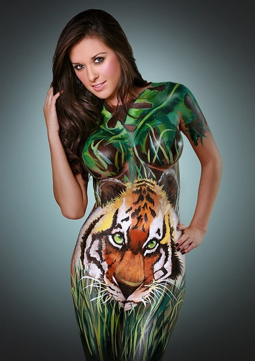 colorful tiger body paint female design