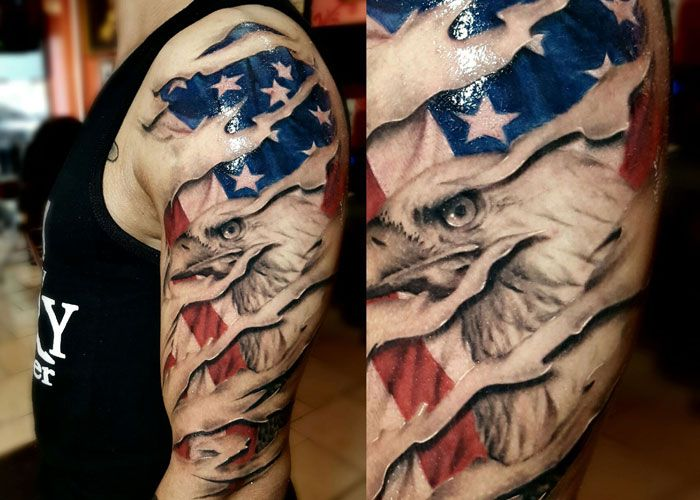 Best 51 Cool American Flag Tattoos For Men