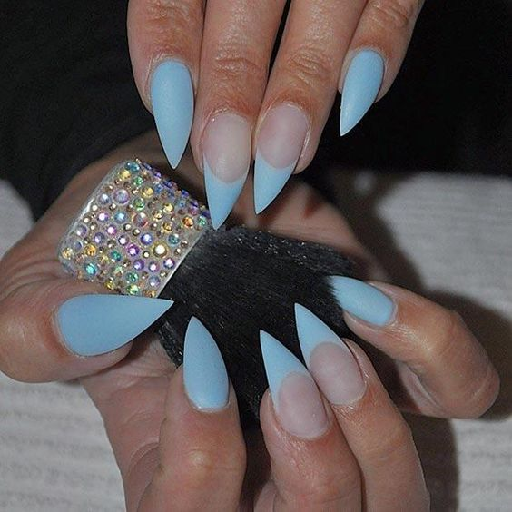 blue natural gel nail patterns
