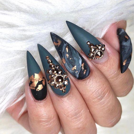 black gel nail ideas