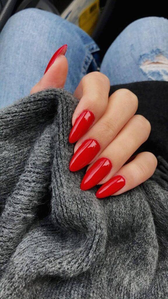 cute red acrylic nail designs
