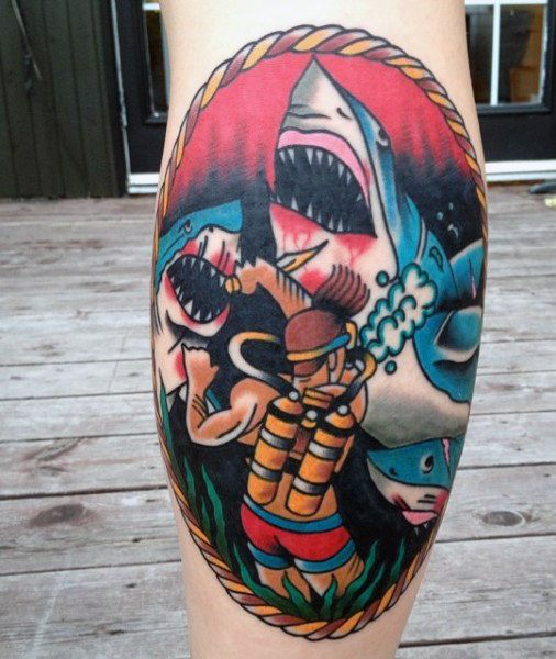new  Dangerous Shark Tattoo Designs For Men