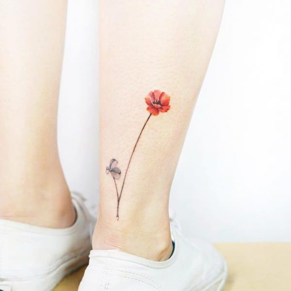 Trendy ankle tattoo for female