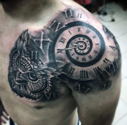 new clock tattoo in arm