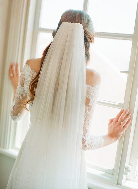 modern bridal veil
