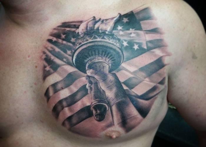 american flag tattoos on shoulder
