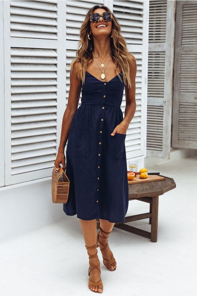blue dresses casual summer office outfits