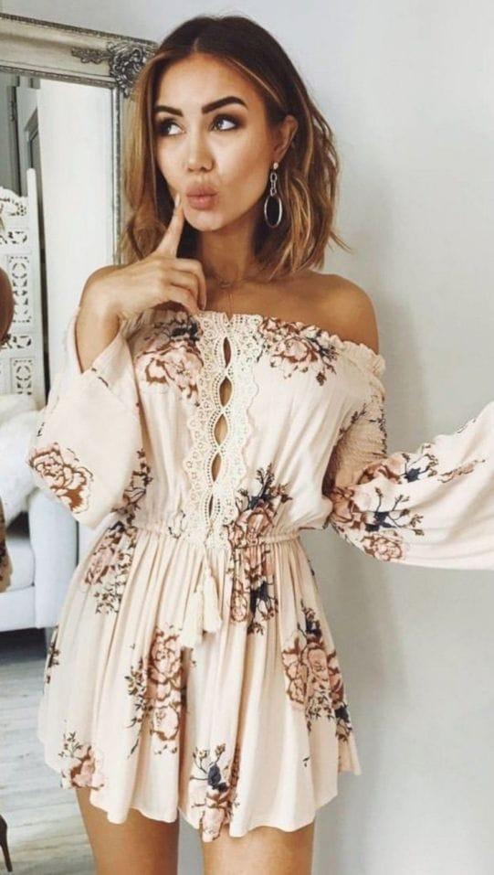 floral short dress unique summer clothes