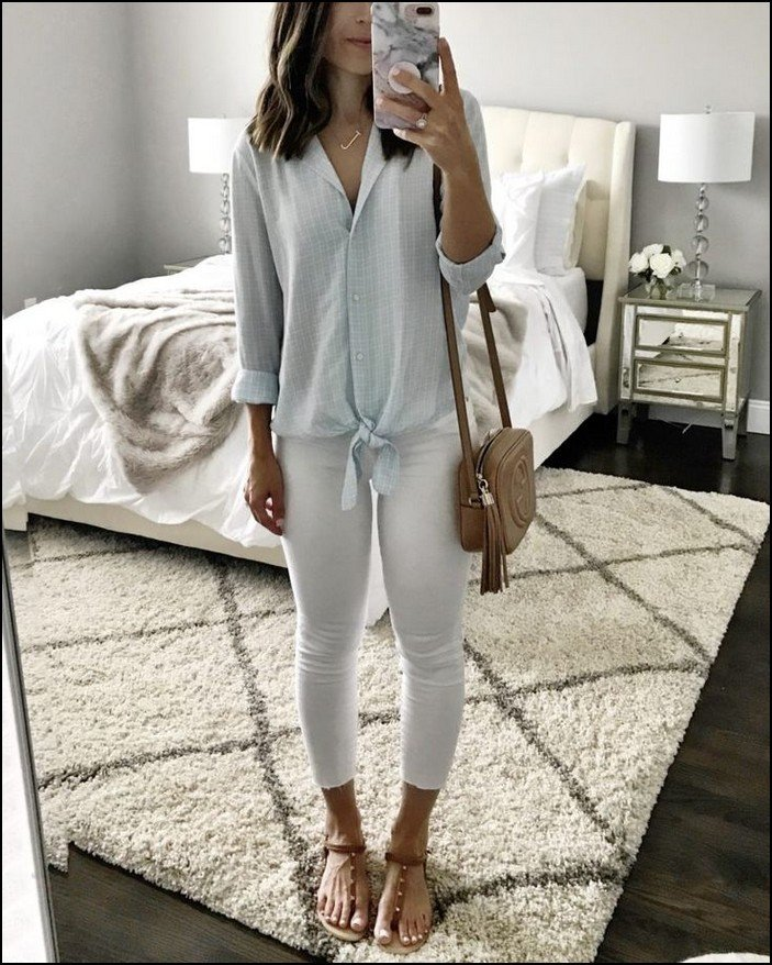 white stylish summer outfit jeans