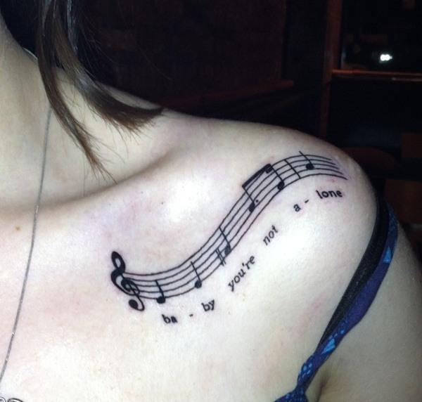 music note tattoo heart