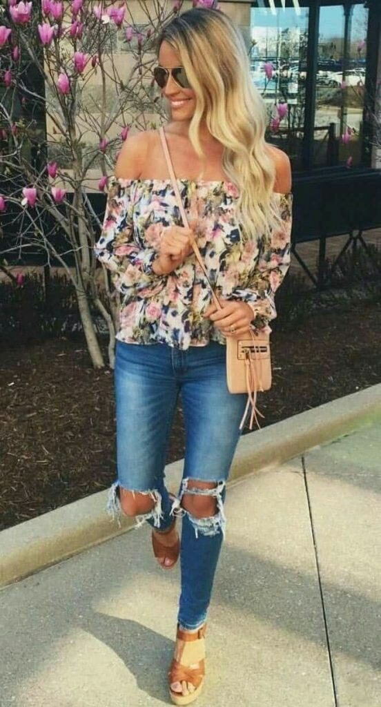 floral shirt and jeans summer season outfits
