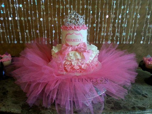 baby shower cakes pink and gold