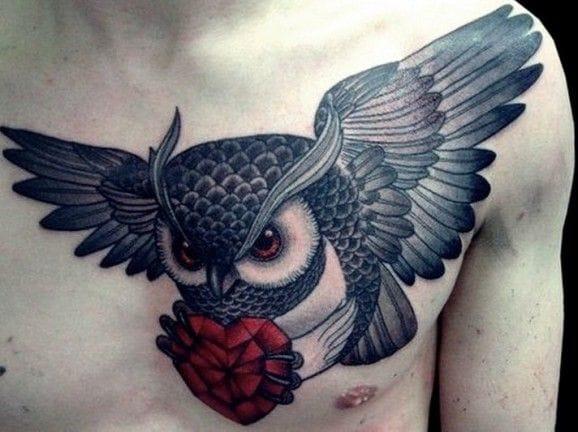 owl neck tattoos