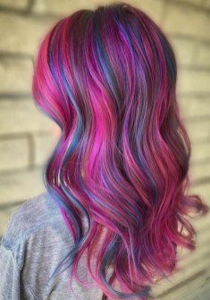 light pink hair color for long hair