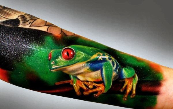 frog with crown tattoo