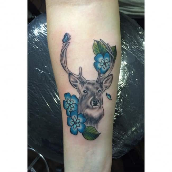 color deer antler sleeve tattoo on arm design