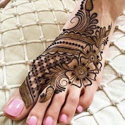 foot flower mehndi tattoo art design for female