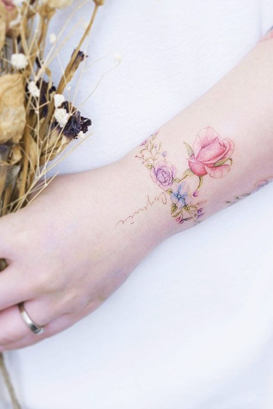color rose best wrist tattoos for ladies